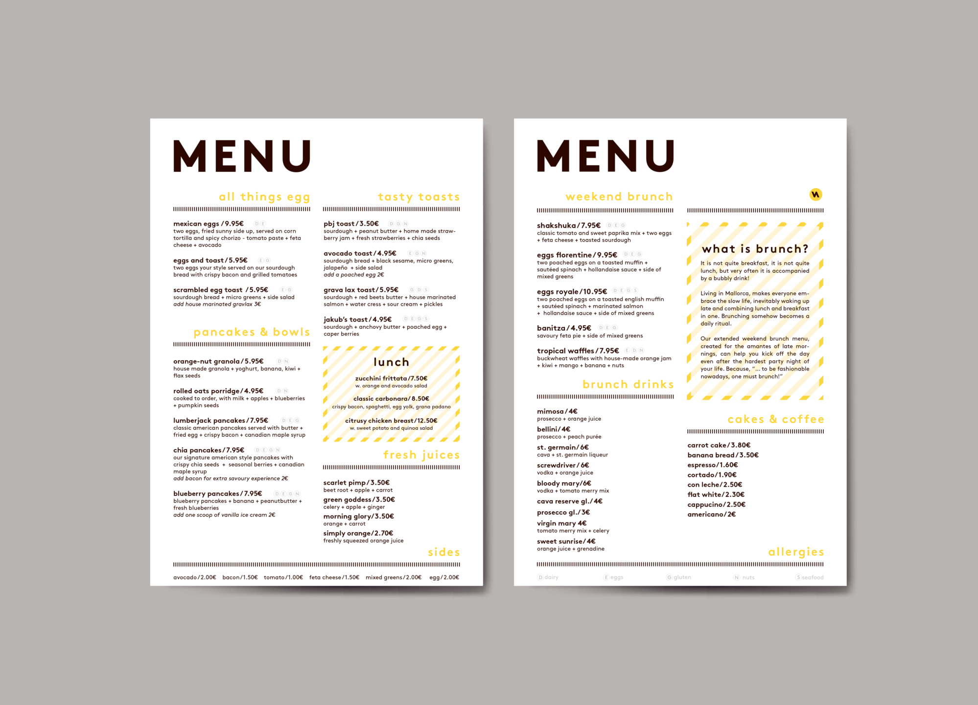 menu design, grafisk design, graphic design, visuel identitet, visual identity, branding